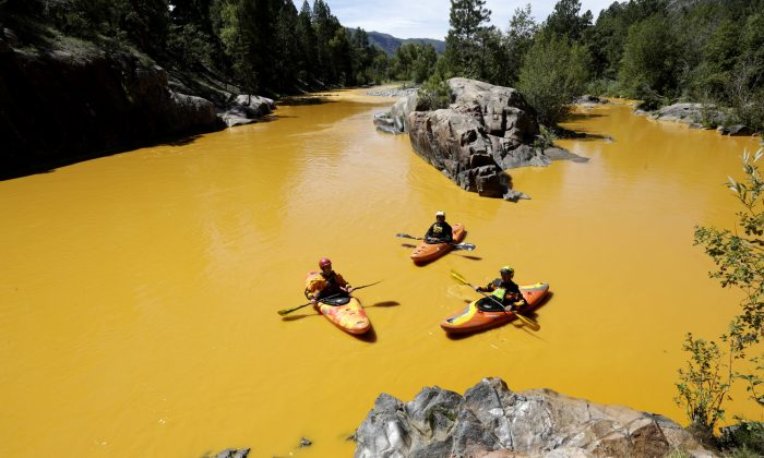 FILE - In this Thursday, Aug. 6, 2015 file photo, people kayak in the Animas River near Durango, Colo., in water colored from a mine waste spill.  (Jerry McBride/The Durango Herald via AP, File) MANDATORY CREDIT
