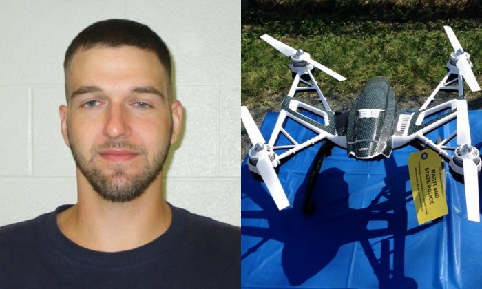 On the left, Thaddeus Shortz. Jury selection began Thursday, Jan. 14, 2016, in Cumberland, Md., for Shortz, accused of planning to use a drone to fly contraband into a maximum-security state prison. (Allegany County Sheriff's Office via AP) On the right, Yuneec Typhoon drone and controller Monday, Aug. 24, 2015, in Jessup, Md. Maryland State Police and prison officials say two men planned to use the drone to smuggle drugs, tobacco and pornography videos into the maximum-security Western Correctional Institution near Cumberland, Md. (AP Photo/David Dishneau)