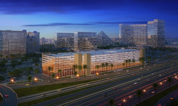 This architectural rendering provided by MGM Resorts International shows a proposed new MGM Resorts parking garage. Casino giant MGM Resorts International will announce Friday, Jan. 15, 2016, that it plans to begin charging visitors for parking this year at some of its properties in Las Vegas. (MGM Resorts International via AP)