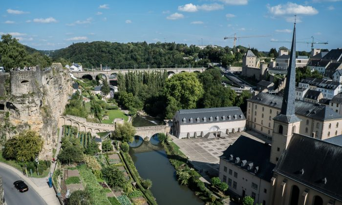 The River Alzette runs through Luxembourg City, which is surrounded by lush valleys. The old ramparts are on the left. (Mohammed Reza Amirinia)
