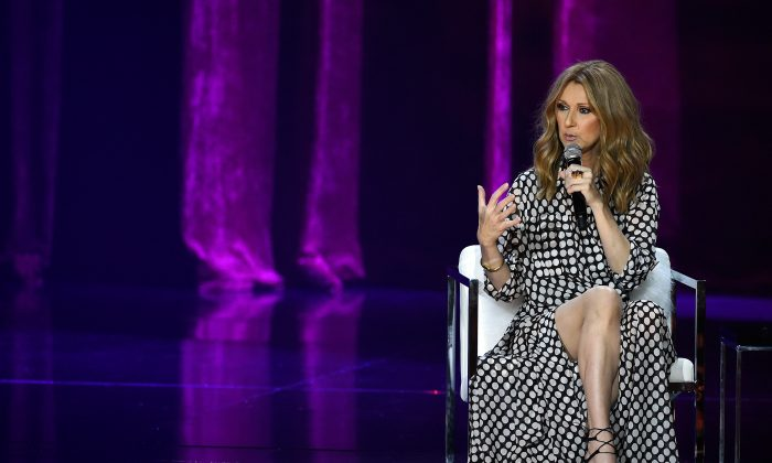 Singer Celine Dion speaks during a news conference at The Colosseum at Caesars Palace before resuming her residency on August 27, 2015 in Las Vegas, Nevada. (Ethan Miller/Getty Images)