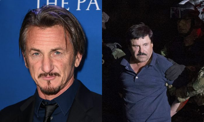 """On the left, Sean Penn on January 9, 2016 in Beverly Hills, Calif. (Photo by Jordan Strauss/Invision/AP) On the right, Mexican drug lord Joaquin """"El Chapo"""" Guzman is escorted by army soldiers to a waiting helicopter, at a federal hangar in Mexico City, Friday, Jan. 8, 2016."""