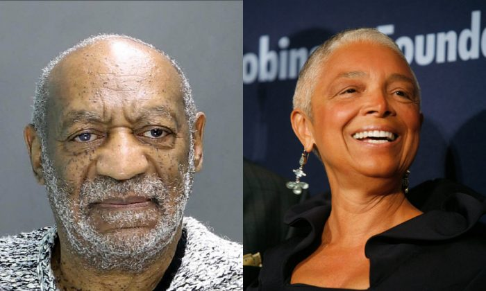 One the left, William H. Cosby during his arraignment December 30, 2015 in Elkins Park, Pennsylvania. (Montgomery County District Attorney's Office via Getty Images) One the right, Dr. Camille Cosby, wife of comedian Bill Cosby, attends the Jackie Robinson Foundation annual awards dinner, Monday, March 3, 2008, in New York. (AP Photo/Diane Bondareff)