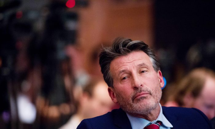 Sebastian Coe, International Association of Athletics Federations (IAAF) president, at a press conference on the report of the World Anti-Doping Agency (WADA) concerning allegations of widespread doping in International Atheltics, in Unterschleissheim, near Munich, southern Germany, on Jan. 14, 2016. (Lukas Barth/AFP/Getty Images)