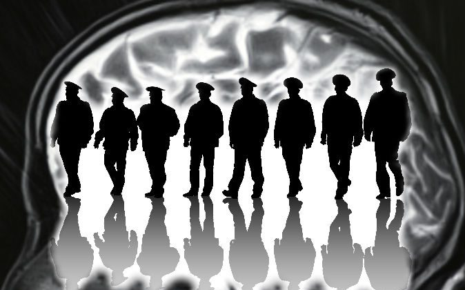 An illustration of officers (Grynold/iStock) Background: An illustration of a brain scan (Windcatcher/iStock)