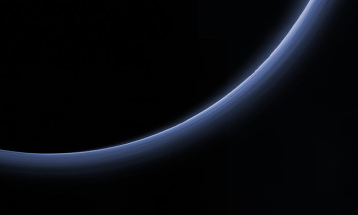 This processed image is the highest-resolution color look yet at the haze layers in Pluto's atmosphere. (NASA)