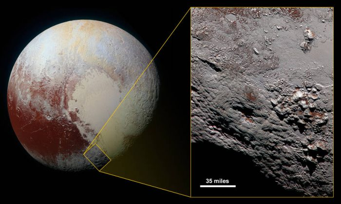 A diagram showing where the ice volcano is located on Pluto (NASA)