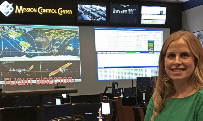 Mary Lawrence, one of five new flight directors named in September 2015 to manage International Space Station operations, at the NASA's Mission Control Center at Johnson Space Center in Houston on Jan. 4, 2016. (NASA via AP)