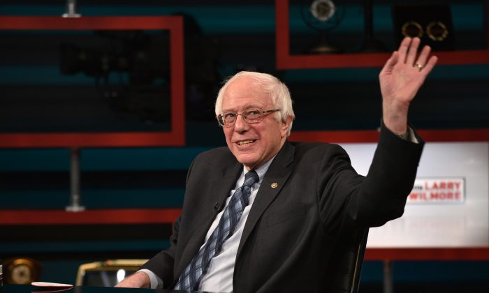 Senator Bernie Sanders on Comedy Central's 'The Nightly Show With Larry Wilmore' on January 5, 2016 in New York City (Bryan Bedder/Getty Images for Comedy Central)