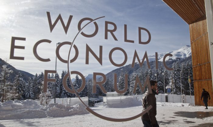 The main entrance of the congress center where the World Economic Forum will take place later this week in Davos, Switzerland. (AP Photo/Michel Euler)