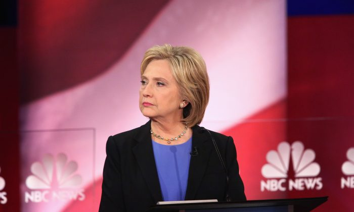 emocratic presidential candidate Hillary Clinton participates in the Democratic Candidates Debate hosted by NBC News and YouTube on January 17, 2016 in Charleston, South Carolina. (Andrew Burton/Getty Images)