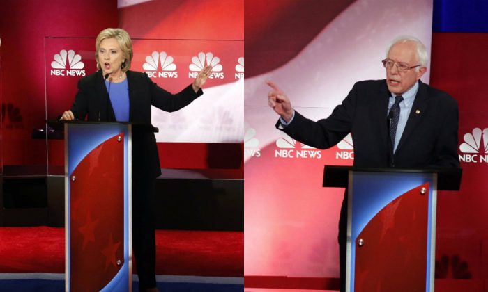 (L-R) Democratic presidential candidates Hillary Clinton and Sen. Bernie Sanders (I-Vt.) at the Democratic primary debate at the Gaillard Center in Charleston, S.C., on Jan. 17, 2016. (AP/Stephen B. Morton & Mic Smith)