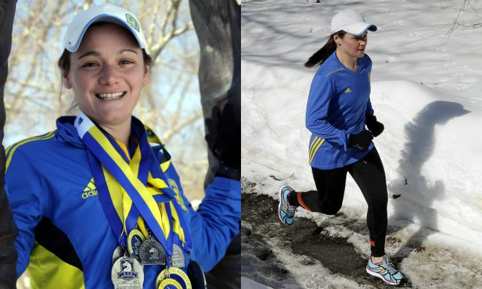 In these Feb. 27, 2015 photos, Becca Pizzi in Newton, Mass. Pizzi, a veteran of 45 marathons, vies to be the first American woman to complete the World Marathon Challenge -- seven marathons in seven days on seven continents in January 2016. (AP Photo/Elise Amendola)