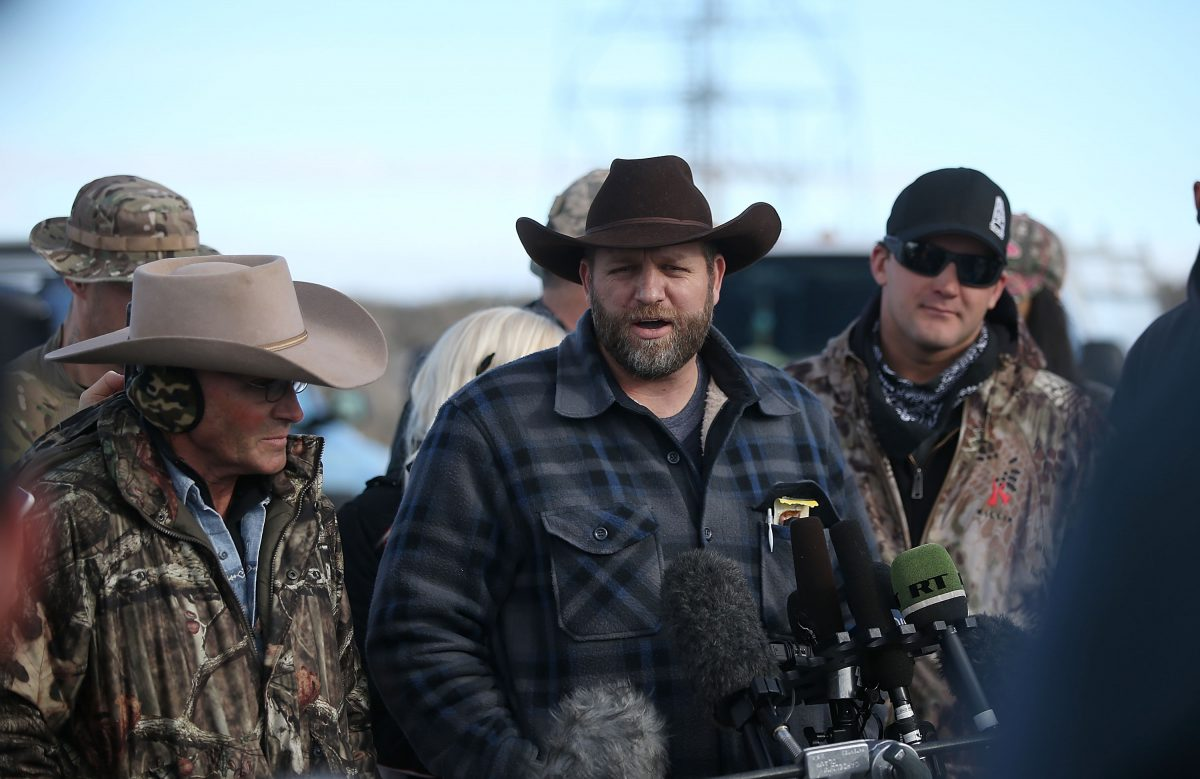 Ammon Bundy, the leader of an anti-government militia, speaks to the media in front of the Malheur National Wildlife Refuge Headquarters, near Burns, Ore., on Jan. 6, 2016. (Justin Sullivan/Getty Images)