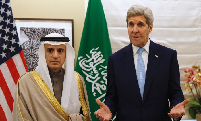 Secretary of State John Kerry (R) at a meeting with Saudi Arabia Foreign Minister Adel al-Jubeir in central London on Jan. 14, 2016. (Kevin Lamarque/AFP/Getty Images)