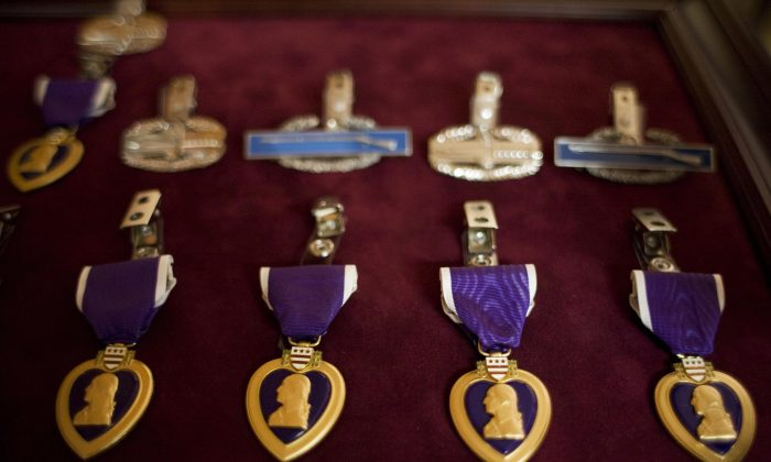 Purple Heart medals  in Washington, DC. The Purple Heart is awarded to those killed or wounded in action while serving with the US military. (MANDEL NGAN/AFP/Getty Images)