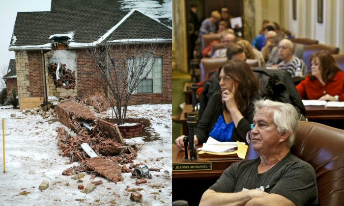 On the left, In this Dec. 29, 2015 photo, remains of a collapsed chimney rest on the ground outside a home in Edmond, Okla., following an earthquake. (Doug Hoke/The Oklahoman via AP) On the right, an earthquake forum at the Capitol hosted by Rep. Richard Morrissette, D-Oklahoma City. Friday, Jan. 15, 2016, in Oklahoma City, Okla.  (Chris Landsberger/The Oklahoman via AP)
