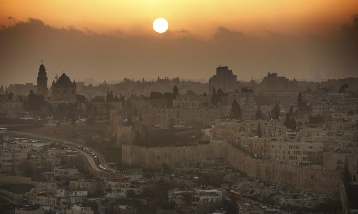 A partial view of the Old City of Jerusalem during sunset, on Feb. 22, 2014. (Thomas Coex/AFP/Getty Images)