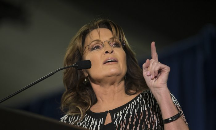 Former Alaska Gov. Sarah Palin speaks at Hansen Agriculture Student Learning Center at Iowa State University in Ames, Iowa, on Jan. 19, 2016. (Aaron P. Bernstein/Getty Images)