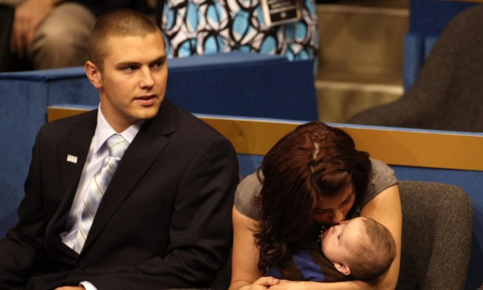 Track Palin sits with Willow Palin in a 2008 file photo. (Photo by Justin Sullivan/Getty Images)