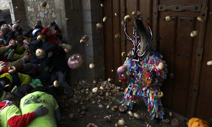 People throw turnips at the Jarramplas as he makes his way through the streets beating his drum, during the Jarramplas festival in Piornal, Spain, Wednesday, Jan. 20, 2016. Hundreds of people are running through the streets of a tiny town in southwestern Spain, chasing a fancy-dressed, beast-like figure and pelting it with turnips. (AP Photo/Francisco Seco)