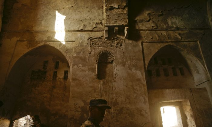 St. Elijah's Monastery being toured by US troops during Forward Operating Base on Nov. 7, 2008. (AP Photo/Maya Alleruzzo)
