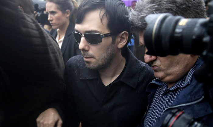 Martin Shkreli leaves the courthouse after his arraignment in New York, Dec. 17, 2015. (AP Photo/Seth Wenig, File)