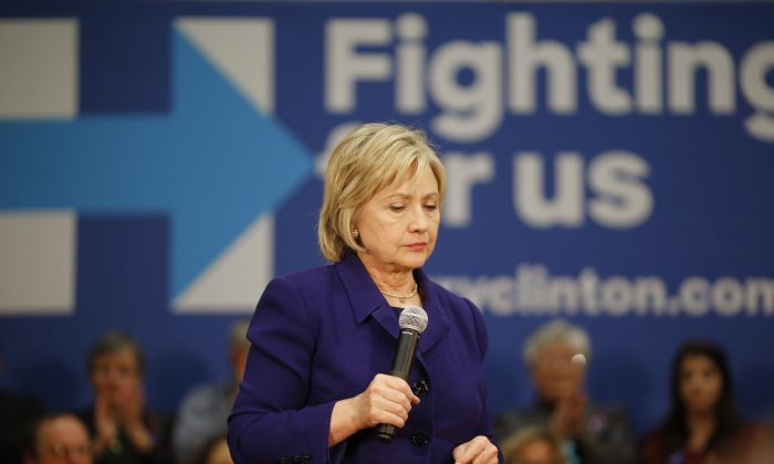 Democratic presidential candidate Hillary Clinton speaks during a campaign event in Burlington, Iowa, on Jan. 20. (AP Photo/Patrick Semansky)