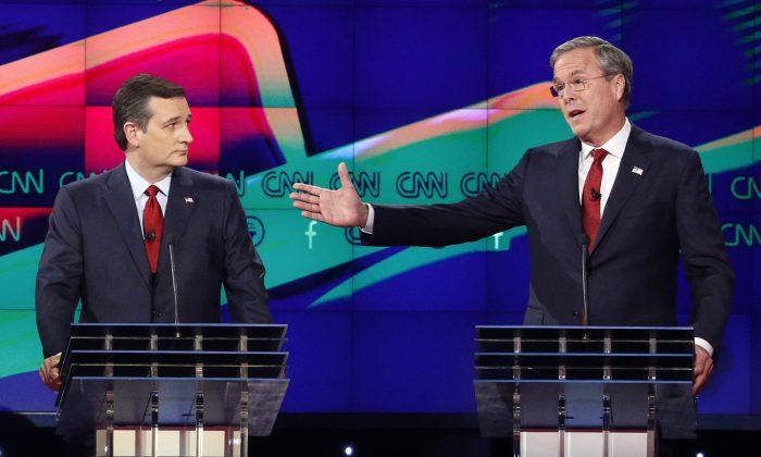 In this Dec. 15, 2015 file photo, former Florida Gov. Jeb Bush, right, makes a point as Sen. Ted Cruz, R-Texas listens on during the Republican presidential debate in Las Vegas. (AP Photo/John Locher)