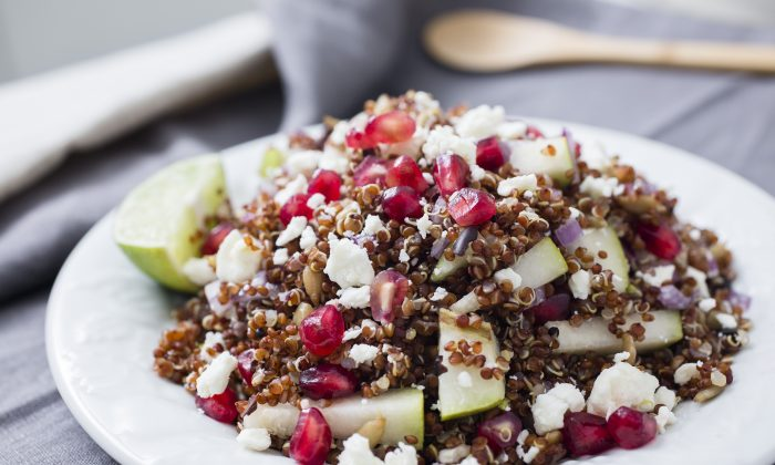 Pomegranate, pear quinoa salad. The high protein content in quinoa makes this a satisfying meal. (Samira Bouaou/Epoch Times)