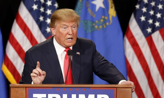 Republican presidential candidate Donald Trump speaks during a campaign rally in Las Vegas on Jan. 21, 2016. (AP Photo/Isaac Brekken)