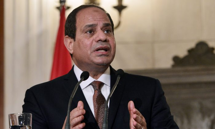 Egypt's President Abdel Fattah el-Sisi addresses the press after meeting with Greece's prime minister in Athens on Dec. 8, 2015. (Louisa Gouliamaki/AFP/Getty Images)
