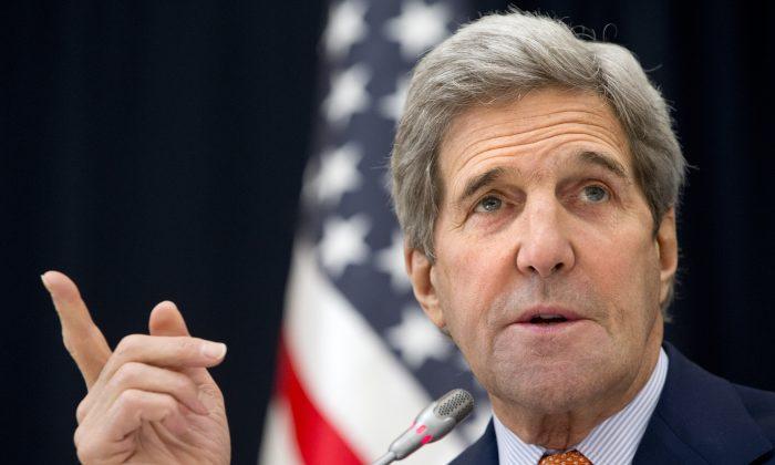 Secretary of State John Kerry speaks to members of the media at King Salman Regional Air Base in Riyadh, Saudi Arabia, on Jan. 23, 2016. (AP Photo/Jacquelyn Martin)