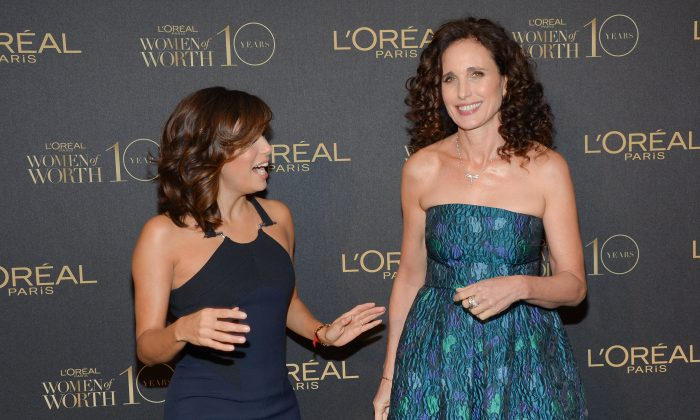 """Actresses Eva Longoria, left, and Andie MacDowell arrive at the tenth annual L'Oreal Paris """"Women of Worth"""" awards gala at The Pierre Hotel on Tuesday, Dec. 1, 2015, in New York. (Photo by Evan Agostini/Invision/AP)"""