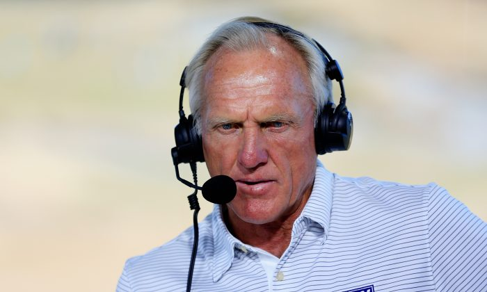 Greg Norman, former Fox TV Analyst, is seen on set during rehearsal prior to the start of the 115th U.S. Open Championship at Chambers Bay on June 17, 2015 in University Place, Washington. (David Cannon/Getty Images)