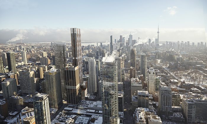 Rendering of the Toronto skyline, with The One in the foreground. The new condo development by Mizrahi Developments, currently in preconstruction at 1 Bloor Street West, will be 80 storeys and have 560 units. (Courtesy of Urbanation)