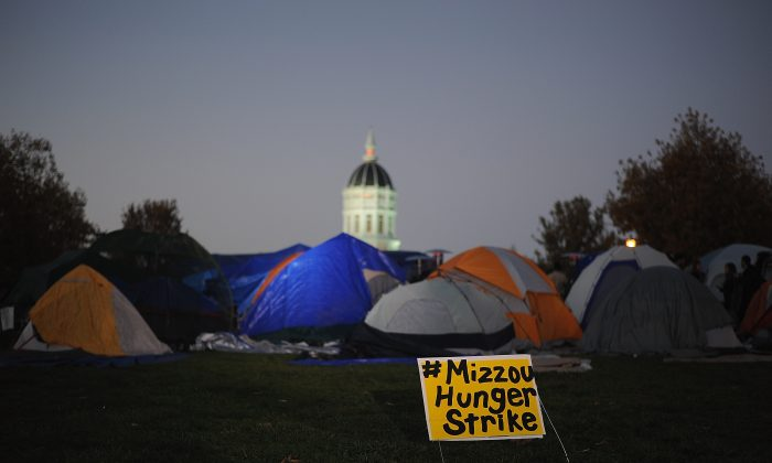 Tents remain on the Mel Carnahan quad on the campus of University of Missouri - Columbia on November 9, 2015 in Columbia, Missouri. (Michael B. Thomas/Getty Images)