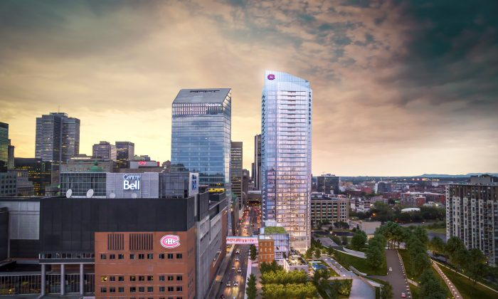 Rendering of Tour des Canadiens 2, located on the corner of Peel and St. Antoine streets just south of Montreal's Bell Centre, where the Habs play their home games during the hockey season. (Courtesy of Canderel Residential)
