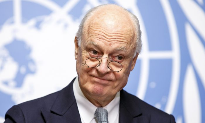 U.N. Special Envoy of the Secretary-General for Syria Staffan de Mistura informs the media on the Intra-Syrian Talks, during a press conference, at the European headquarters of the United Nations in Geneva, Switzerland, on Jan. 25, 2016. (Salvatore Di Nolfi/Keystone via AP)