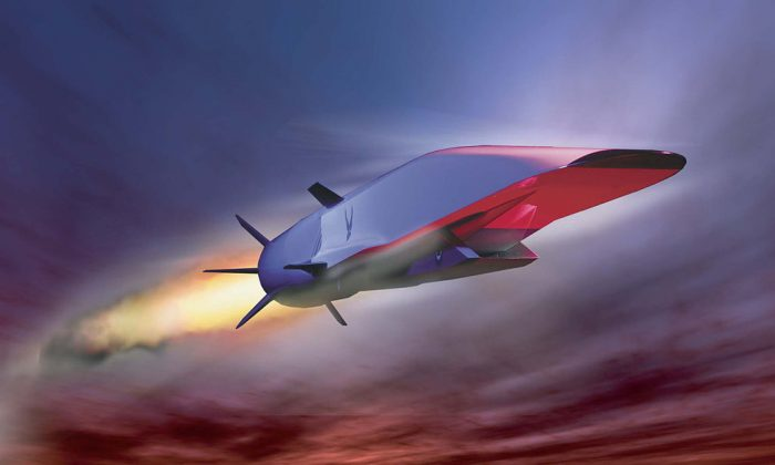 An artist concept of the X-51 hypersonic test aircraft in flight. The X-51 reached Mach 5 (3800 mph) during a test flight in 2010. (U.S. Air Force)