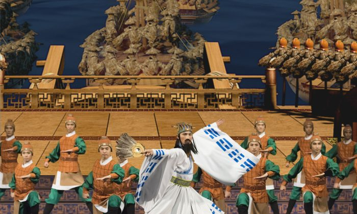 """A scene from """"Capturing Arrows with Boats of Straw,"""" a story-dance based on a chapter from the great historical novel """"Romance of the Three Kingdoms."""" (Shen Yun Performing Arts)"""