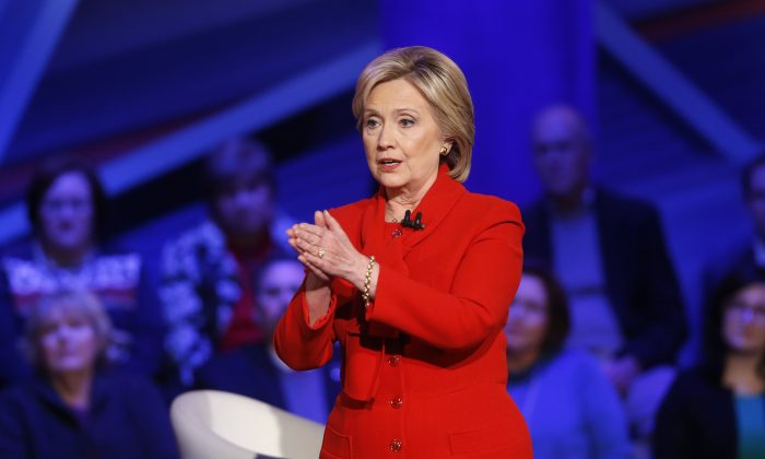 Democratic presidential candidate Hillary Clinton speaks during a CNN town hall at Drake University in Des Moines, Iowa, Monday, Jan. 25, 2016. (AP Photo/Patrick Semansky)