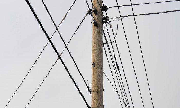 Double poles in Middletown on Jan. 26, 2016. (Yvonne Marcotte/Epoch Times)