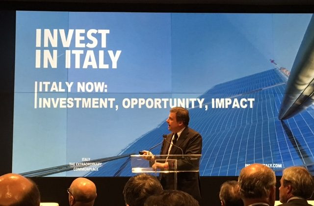 """Italy's Deputy Minister of Economic Development Carlo Calenda at the """"Invest in Italy"""" global roadshow meeting at Bloomberg headquarters in New York City on January 11, 2016."""