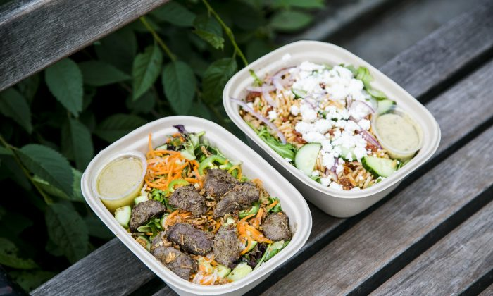 Vietnamese Beef Salad, and Feta, Cucumber, and Orzo Greek salad from Maple, a New York meal delivery service, on July 20, 2015. (Samira Bouaou/Epoch Times)
