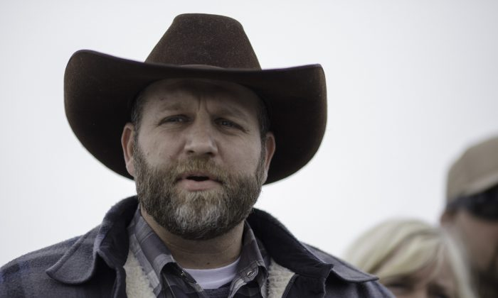 Ammon Bundy, one of the sons of Nevada rancher Cliven Bundy, during a news conference at Malheur National Wildlife Refuge, near Burns, Ore., on Jan. 6, 2016. (AP Photo/Rick Bowmer)