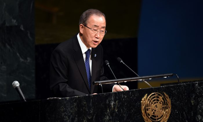 U.N. Secretary-General Ban Ki-moon sepaks during a Holocaust memorial ceremony on the occasion of the International Day of Commemoration in Memory of the Victims of the Holocaust at the United Nations headquarters in New York City on Jan. 27, 2016. (Jewel Samad/AFP/Getty Images)