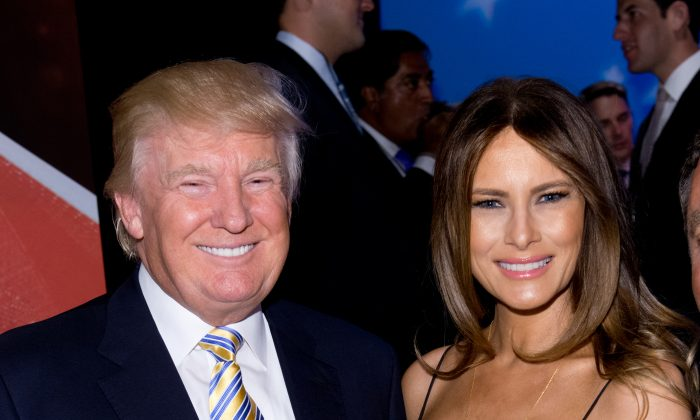 Donald Trump and Melania Trump attend the U.S. Ryder Cup Captain's Picks News Conference on September 2, 2014 in New York City. (Photo by Noam Galai/Getty Images)