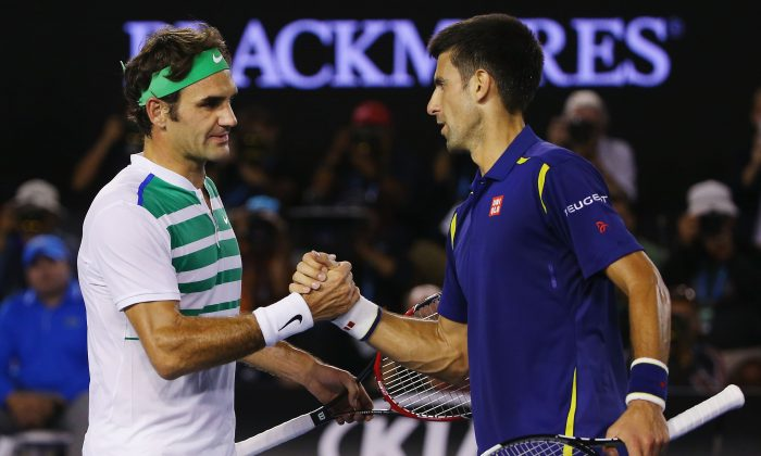 Novak Djokovic (R) has stopped Roger Federer in four of the last seven Grand Slam events—including three times in the finals. (Michael Dodge/Getty Images)