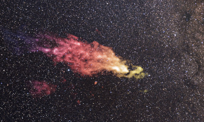 This composite image shows the location of the Smith Cloud on the sky. (Saxton/Lockman/NRAO/AUI/NSF/Mellinger)
